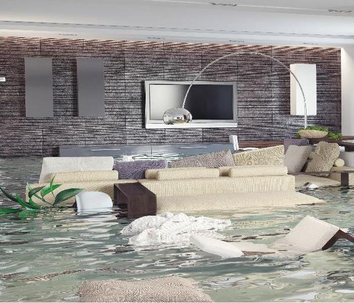 3D concept of contemporary interior flooding